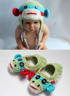 Handmade Knit Crochet Colorful Sock Monkey Baby Hats Shoes Newborn Photo Prop