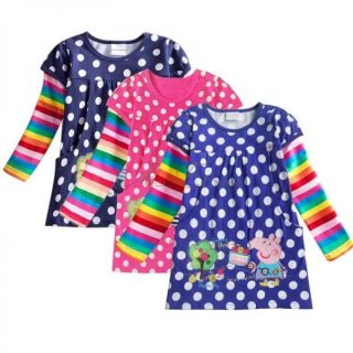 Peppa Pig Girls Baby Cotton Rainbow Long Sleeve Top Dress T Shirt Clothing 18M 6