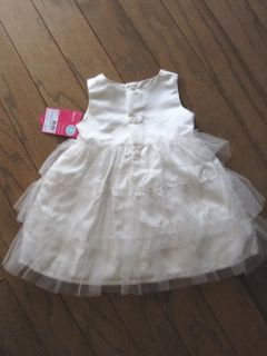 Baby Girls White Dress Carter's Ruffles Roses Infant Size 18 Months