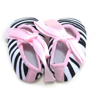 Infant Baby Toddler Girl Dot Damask Giraffe Leopard Print Silk Ribbon Shoe 0 15M