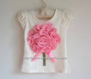 Pink Flower Kids Children Toddler Baby Girl Clothes Top T Shirt Size 1 7 Years