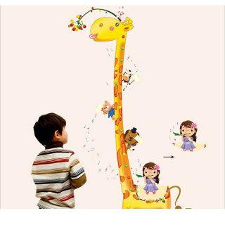 New Baby Kid Height Ruler Measure Animals Chart Home Wall Paper Sticker Decals