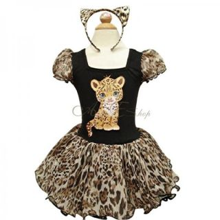 Girls Kid Leopard Halloween Costume Dress Up Ballet Party Tutu Ear Outfit 2T 7