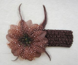 8 Colors Baby Girls Crochet Headband Christmas Flower Hair Clip