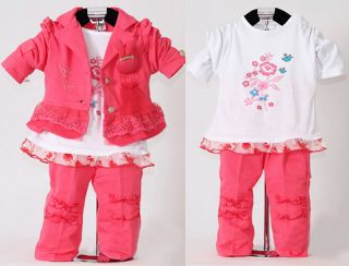 3pcs Baby Girls Kids Pink Clothes Coat T Shirt Pants Child Outfit Clothing