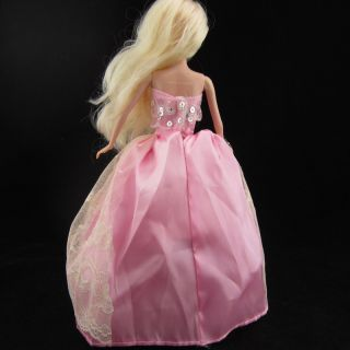 New Pink Princess Barbie Clothes Dress Gown Wedding for Barbie Dolls Girl Gift