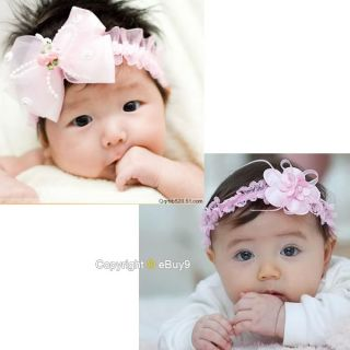 2pcs Baby Girl Lace Flower Hair Band Elasticity Headband