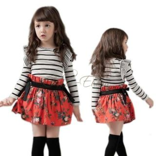 Girl Ruffle Striped Top Dress Floral Flower Party Skirt Kids Baby Autumn Clothes