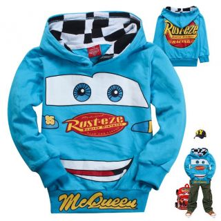 New Kids Boys Girls Funny Cars Lightning McQueen Hoodies Tops Coat 6 7Years 130