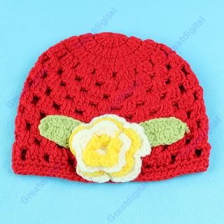 Lovely Baby Toddler Girl Handmade Crochet Knitting Cutton Cap Hat Flower Hot