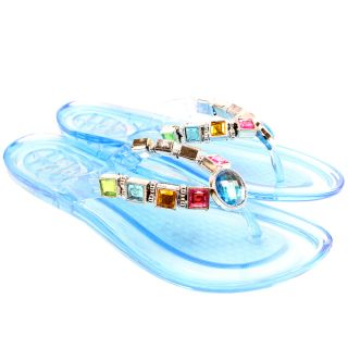 Womens Diamante Gem Jewel Jelly Flat Flip Flop Beach Sandals Toe Post Ladies 3 8