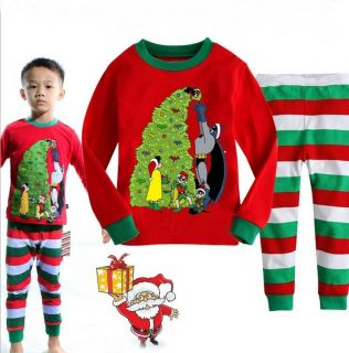 "Baby Kids Boys Girls Suit Christmas Sleepwear ""Christmas Tree"" Pajama Set GIFT2T"