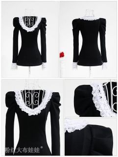Japan Fashion Punk Rock Gothic Lolita Lace Collar Top Blouse Shirt Black s XL