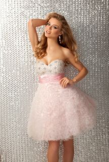 Flirty Sexy Strapless Short Beaded Evening Gown Prom Dress Pink White