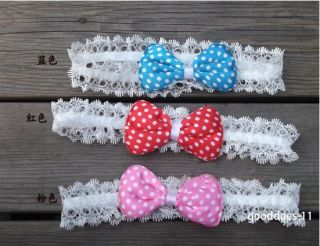 Hot Cute Toddler Baby Girl Elastic Lace Flower Bow Hair Elastic Band Headband