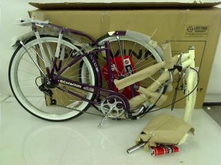"Schwinn Women's Sanctuary 7 Speed Cruiser Bicycle 26"" Wheels Cream Burgundy"
