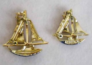 Vintage Gerrys Signed Gold Sailboat Brooch Pin Lot of 2