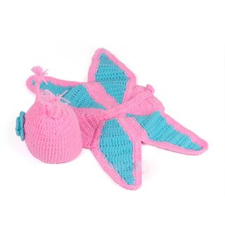 Cute Kids Baby Toddler Costume Butterfly Suit Photo Prop Knit Crochet Hat Cap