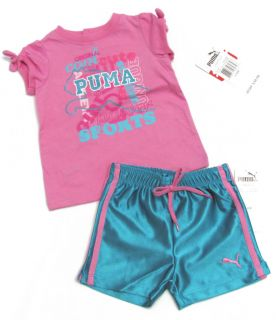 Puma Baby Girls Pink Tee Shirt Blue Gym Shorts Set