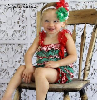 Christmas Baby Petti Romper Red White Green Satin Lace Ruffle Outfit Photo Prop