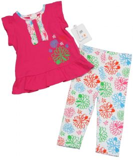 Absorba Baby Girls 12 mos Pink Tank Top Shirt White Floral Leggings Set