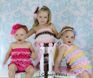 Lace Rosette Baby Flower Headband M2M Petti Romper Toddler Girl Photo Prop Pink