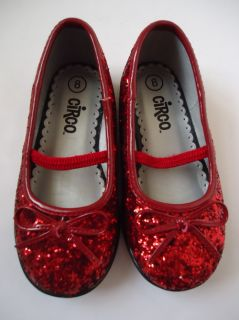 Circo Toddler Girls Red Glitter Ballet Flats Ruby Red Slippers Shoes Size 8