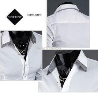 B20E New Mens Luxury Fashion Formal Casual Slim Fit Dress Shirts T Shirt Blouse