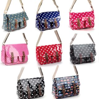Oilcloth Polka Dots Cars Stars Satchel Shoulder Bag PU Leather Bottom Cross Body