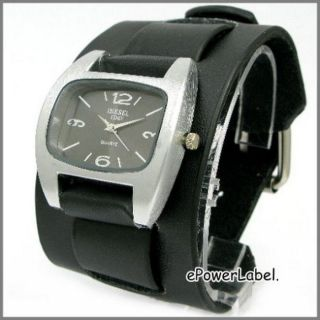 P190 Steel Men Ladies Watch Black Leather Wide Cuff