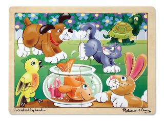 Kids Wooden Jigsaw Puzzles New Melissa Doug Playful Pets Dog Cat Fish 12 Piece