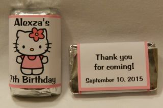 30 Personalized Hello Kitty Birthday Party Favor Mini Candy Bar Wrapper Labels