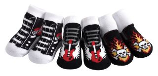 Jazzytoes Jazzy Toes Rock'N Roll Sox Baby Boy Socks 3 Pair Gift Set Punk Tattoo