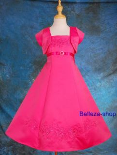 Hot Pink Flower Girls Party Pageant Dress Sz 6 7 HP11