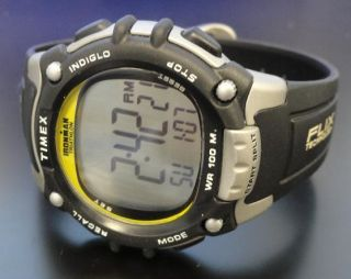 Timex Ironman Triathlon T5E231 Black Yellow 100 Lap Flix System Mens Sport Watch