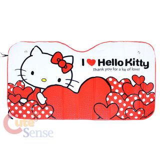 Sanrio Hello Kitty Windshield Front Window Car Auto Sunshade Red Hearts