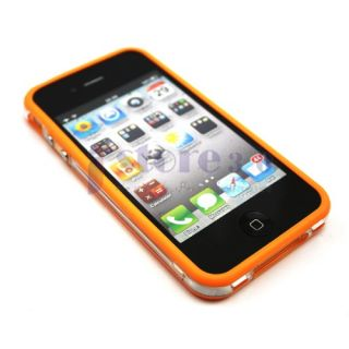 TPU Bumper Frame Silicone Skin Case W/ Side Button for iPhone 4S 4G 4
