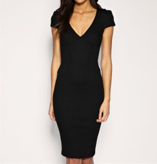 Sexy Women Deep V Neck Bodycon Slim Pencil Dress Business Party Cocktail Dress