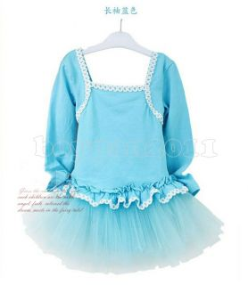 Kids Girls Party Dancing Leotard Ballet Ages 3 8Y Long Sleeve Tutu Skirt Dress