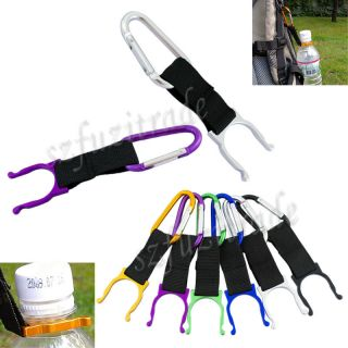 6X Travel Hiking Carabiner Belt Clip Key Chain w Water Bottle Hook Clamp Holder
