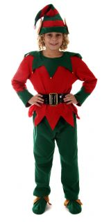 Childs Elf Suit Fancy Dress Christmas Santas Helper Kids Claus Hat Costume Xmas
