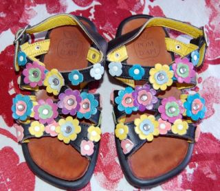 Toddler Girls Sz 26 8 Pom D'API Euro Flower Power Leather Sandals Shoes