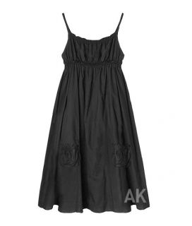 Anna Kastle New Womens Cute Summer Spaghetti Strap Baby Doll Dress Black Sz S