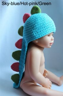 New Cute Baby Child Handmade Knit Crochet Dinosaur Hat Cap Photograph Newborn