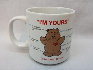 "Russ ""I'M Yours"" Coffee Mug Valentine Cup Teddy Bear Design Front and Back"