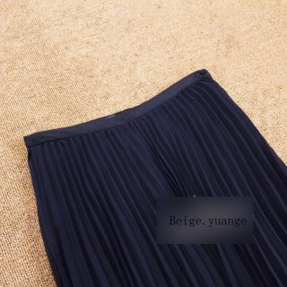 Maxi Long Pleated Chiffon Skirt Dress Navy Blue Red Pink Beige Orange Baby Pink