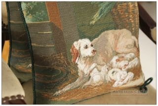 "14"" Chic Dog Needlepoint Pillow French Home Decorative Sofa Chair Cushion Wool"