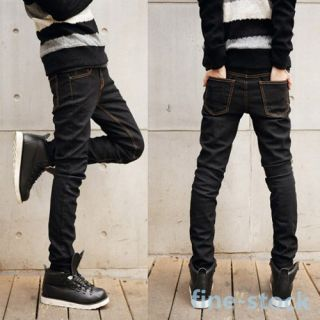 Mens Boys Trousers Jeans Skinny Straight Slim Fit Pencil Feet Pants Stretch New