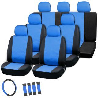 23pc Full Set Leather Blue Black Van Seat Cover Bucket Bench Wheel Head Belt Pad