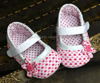 Baby Girl Heart Pattern Soft Sole Mary Jane Crib Shoes Size Newborn to 18 Months